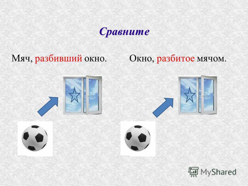 Сравните Мяч, разбивший окно.Окно, разбитое мячом.