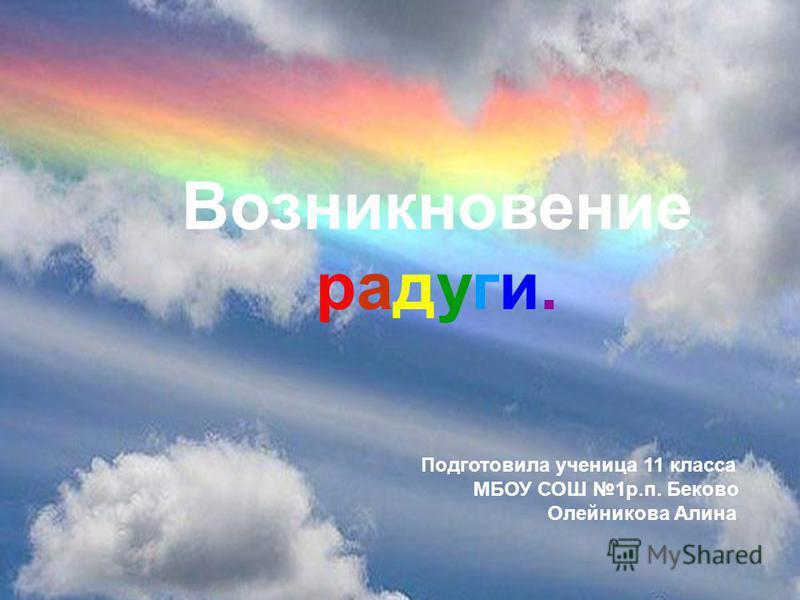 Возникновение радуги. Подготовила ученица 11 класса МБОУ СОШ 1 р.п. Беково Олейникова Алина