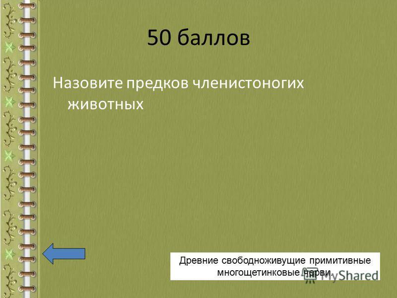 50 баллов Назовите предков членистоногих животных Древние свободноживущие примитивные многощетинковые черви.