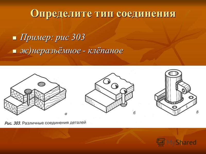 Определите тип соединения Пример: рис 303 Пример: рис 303 ж)неразьёмное - клёпаное ж)неразьёмное - клёпаное