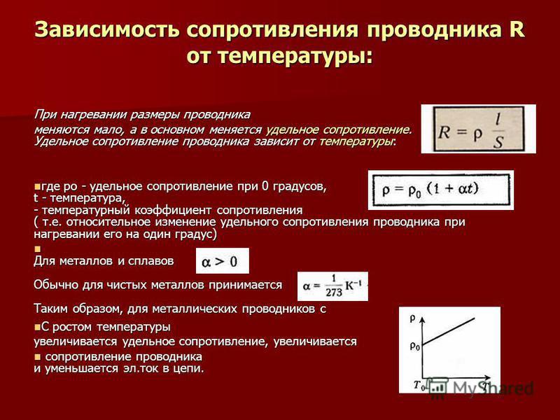 Зависимость сопротивления проводника R от температуры: При нагревании размеры проводника меняются мало, а в основном меняется удельное сопротивление. Удельное сопротивление проводника зависит от температуры: где ро - удельное сопротивление при 0 град