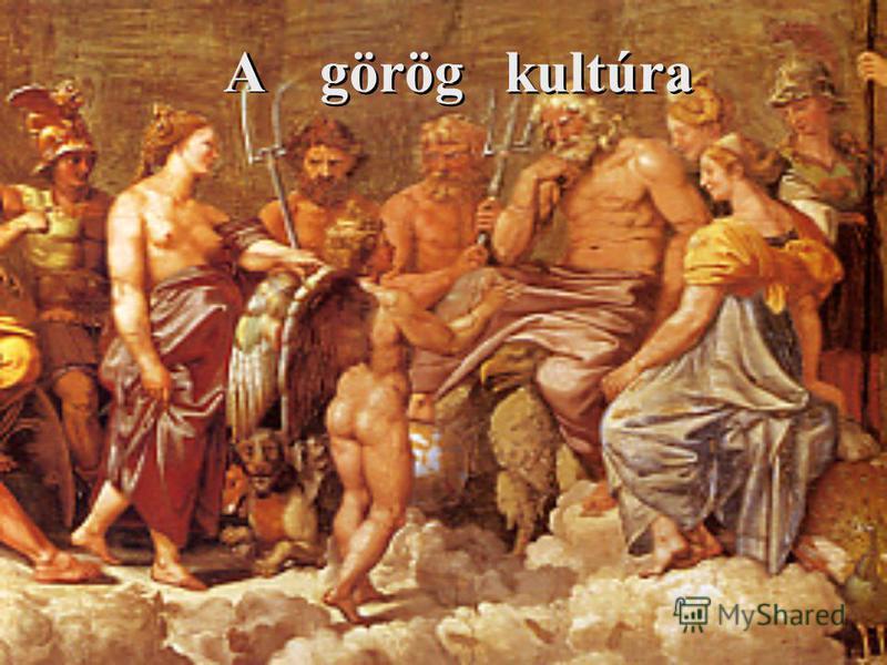 TARTALOM A görög kultúra 4-25. dia - Az archaikus kor ( Az Olümposzi istenek) 4-13. dia - A klasszikus kor 14-16. dia - A hellenisztikus kor 17. dia A görög művészet 18-25. dia - Építészet 20-22. dia - Szobrászat 23. dia - Festészet 24. dia A görög f