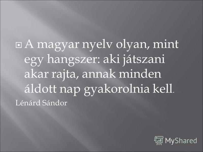 A magyar nyelv olyan, mint egy hangszer: aki játszani akar rajta, annak minden áldott nap gyakorolnia kell. Lénárd Sándor