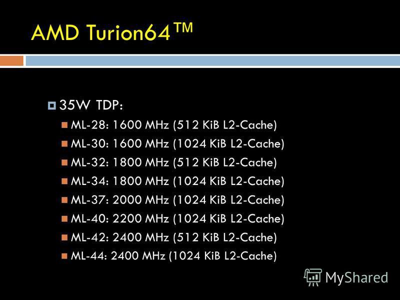 AMD Turion64 35W TDP: ML-28: 1600 MHz (512 KiB L2-Cache) ML-30: 1600 MHz (1024 KiB L2-Cache) ML-32: 1800 MHz (512 KiB L2-Cache) ML-34: 1800 MHz (1024 KiB L2-Cache) ML-37: 2000 MHz (1024 KiB L2-Cache) ML-40: 2200 MHz (1024 KiB L2-Cache) ML-42: 2400 MH