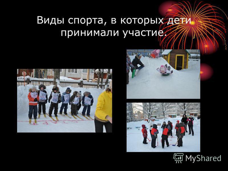 Виды спорта, в которых дети принимали участие.