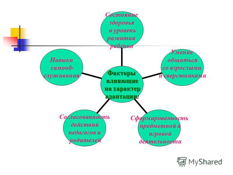 Факторывлияющие на характер на характер адаптации: Состояние здоровья и уровень развития ребенка Умение общаться со взрослыми и сверстниками Сформированность предметной и игровой деятельности Согласованность действий педагогов и родителей Навыки само