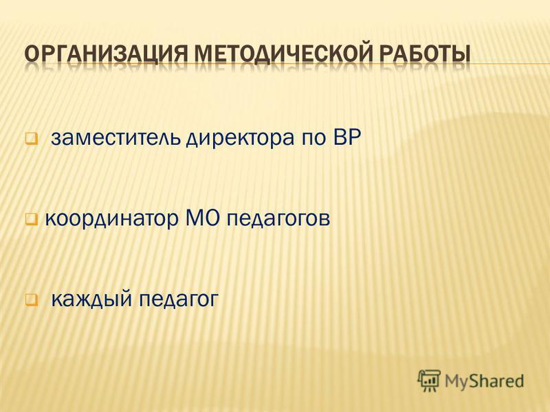 заместитель директора по ВР координатор МО педагогов каждый педагог