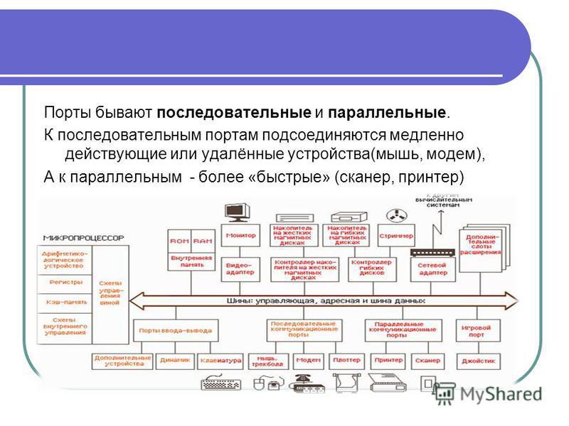 Порты бывают последовательные и параллельные. К последовательным портам подсоединяются медленно действующие или удалённые устройства(мышь, модем), А к параллельным - более «быстрые» (сканер, принтер)