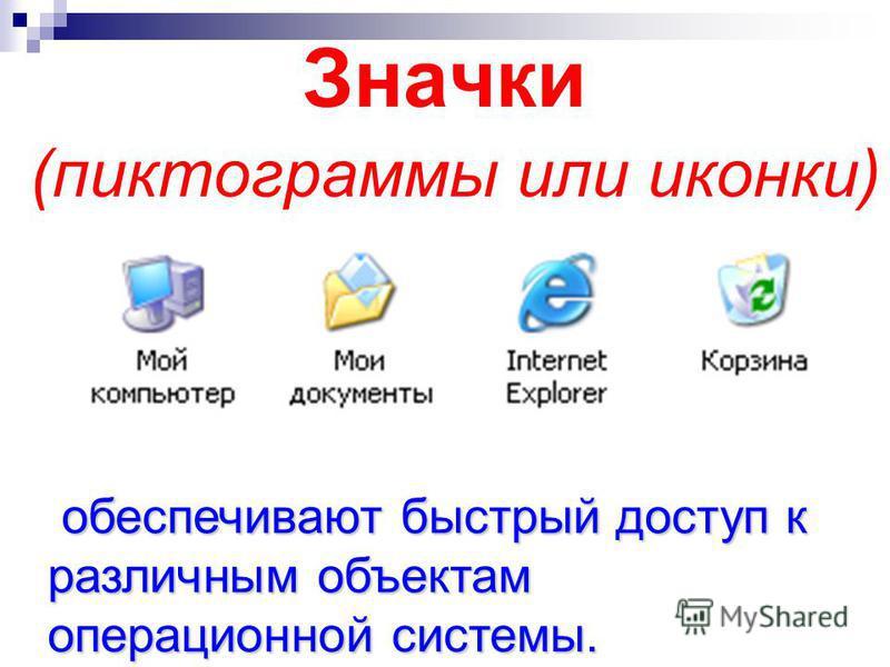 Значки (пиктограммы или иконки) обеспечивают быстрый доступ к различным объектам операционной системы. обеспечивают быстрый доступ к различным объектам операционной системы.