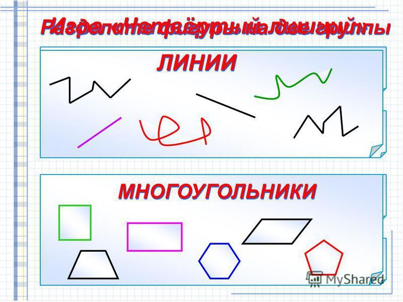 Игра «Четвёртый лишний» Разделите фигуры на две группы ЛИНИИ МНОГОУГОЛЬНИКИ