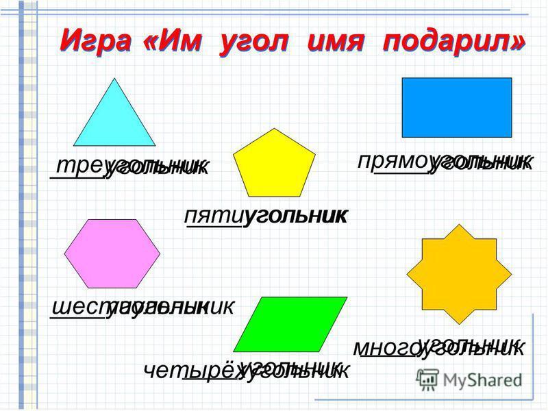 ____угольник многоугольник четырёхугольник шестиугольник прямоугольник пятиугольник треугольник Игра «Им угол имя подарил»