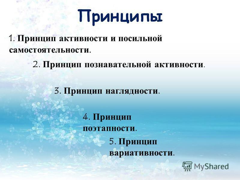 Принципы 1. Принцип активности и посильной самостоятельности. 2. Принцип познавательной активности. 3. Принцип наглядности. 4. Принцип этапности. 5. Принцип вариативности.