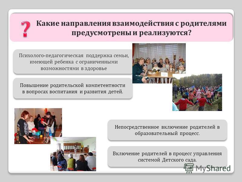 Какие направления взаимодействия с родителями предусмотрены и реализуются? Психолого-педагогическая поддержка семьи, имеющей ребенка с ограниченными возможностями в здоровье Психолого-педагогическая поддержка семьи, имеющей ребенка с ограниченными во