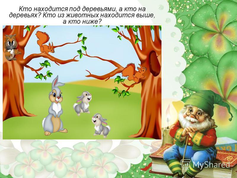 Кто находится под деревьями, а кто на деревьях? Кто из животных находится выше, а кто ниже?