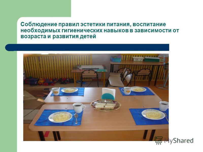 Соблюдение правил эстетики питания, воспитание необходимых гигиенических навыков в зависимости от возраста и развития детей