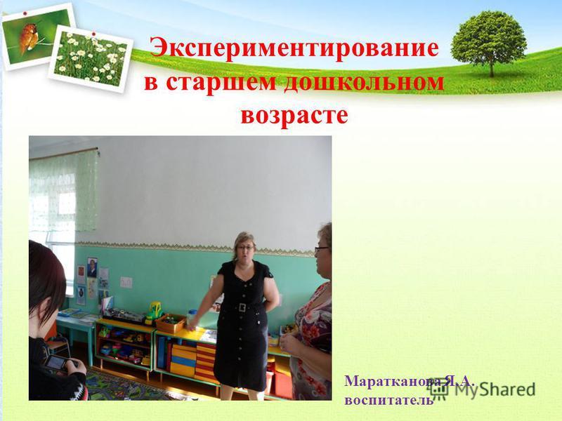 Экспериментирование в старшем дошкольном возрасте Маратканова Я.А. воспитатель