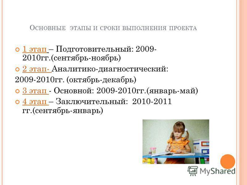 О СНОВНЫЕ ЭТАПЫ И СРОКИ ВЫПОЛНЕНИЯ ПРОЕКТА 1 этап – Подготовительный: 2009- 2010 гг.(сентябрь-ноябрь) 2 этап- Аналитико-диагностический: 2 этап- 2009-2010 гг. (октябрь-декабрь) 3 этап - Основной: 2009-2010 гг.(январь-май) 3 этап 4 этап – Заключительн