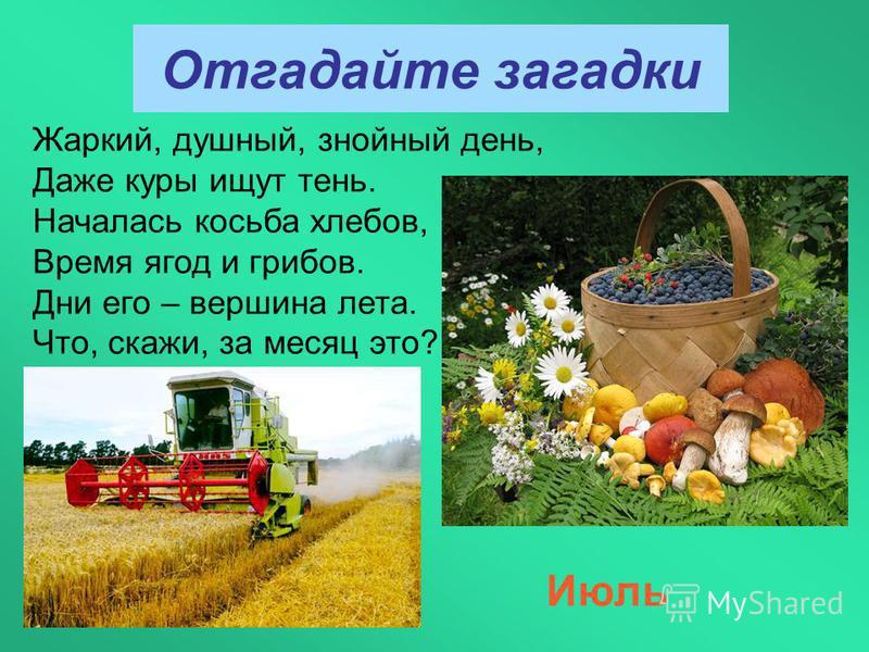 Отгадайте загадки Июль Жаркий, душный, знойный день, Даже куры ищут тень. Началась косьба хлебов, Время ягод и грибов. Дни его – вершина лета. Что, скажи, за месяц это?