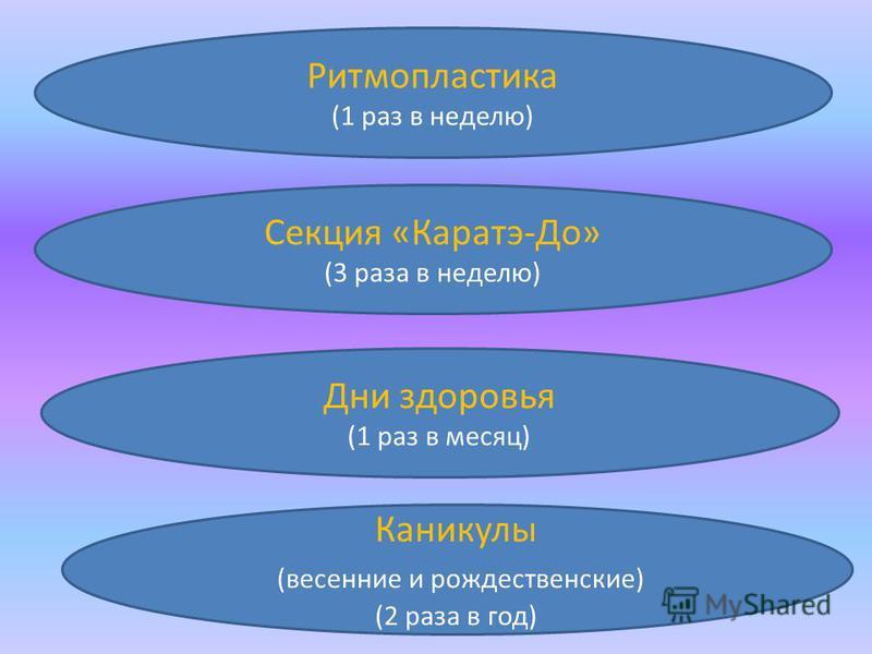 Ритмопластика (1 раз в неделю) Каникулы (весенние и рождественские) (2 раза в год) Дни здоровья (1 раз в месяц) Секция «Каратэ-До» (3 раза в неделю)