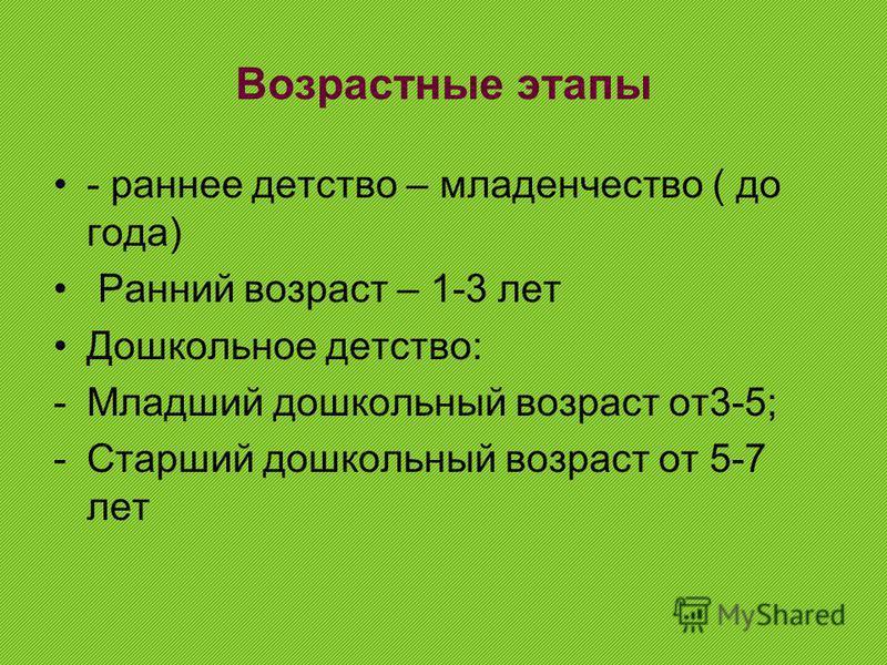 Возрастные этапы - раннее детство – младенчество ( до года) Ранний возраст – 1-3 лет Дошкольное детство: -Младший дошкольный возраст от 3-5; -Старший дошкольный возраст от 5-7 лет