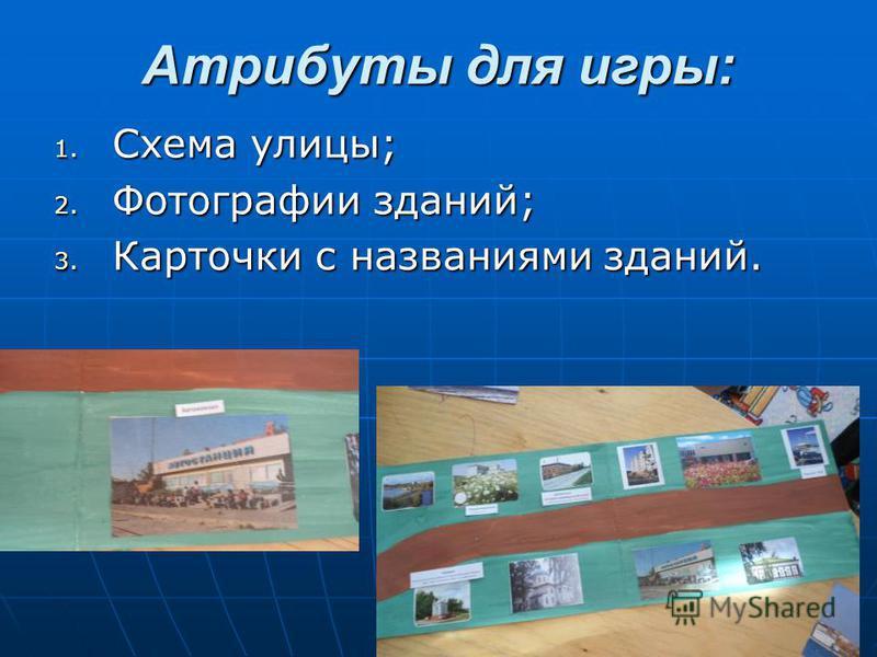 Атрибуты для игры: 1. Схема улицы; 2. Фотографии зданий; 3. Карточки с названиями зданий.