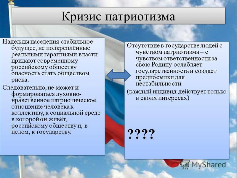 Кризис патриотизма Надежды населения стабильное будущее, не подкреплённые реальными гарантиями власти придают современному российскому обществу опасность стать обществом риска. Следовательно, не может и формироваться духовно- нравственное патриотичес