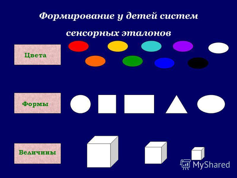 Формирование у детей систем сенсорных эталонов Цвета Формы Величины