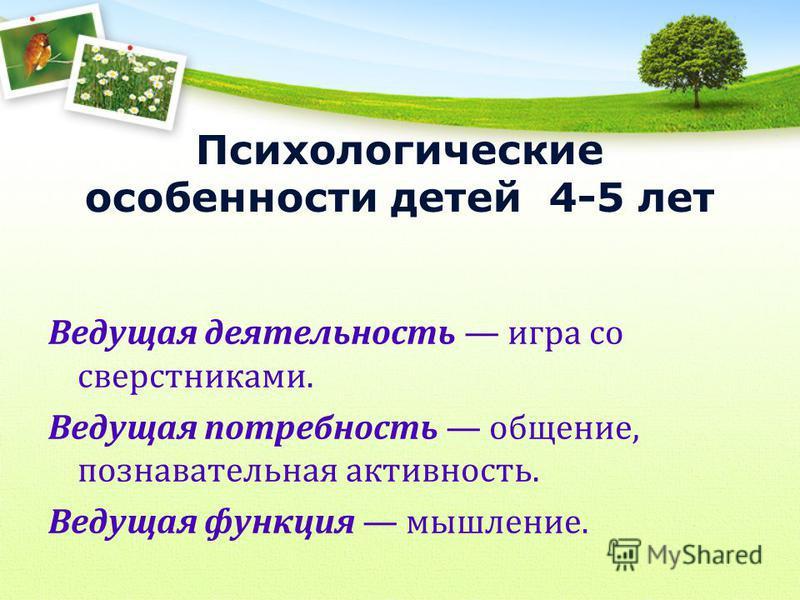 Психологические особенности детей 4-5 лет Ведущая деятельность игра со сверстниками. Ведущая потребность общение, познавательная активность. Ведущая функция мышление.