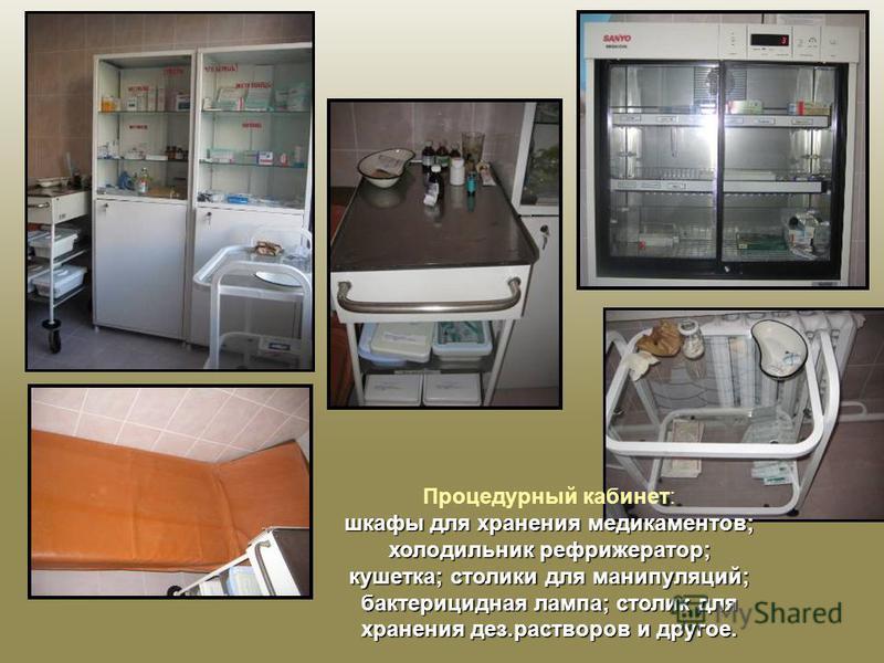 Процедурный кабинет: шкафы для хранения медикаментов; холодильник рефрижератор; кушетка; столики для манипуляций; бактерицидная лампа; столик для хранения дез.растворов и другое.
