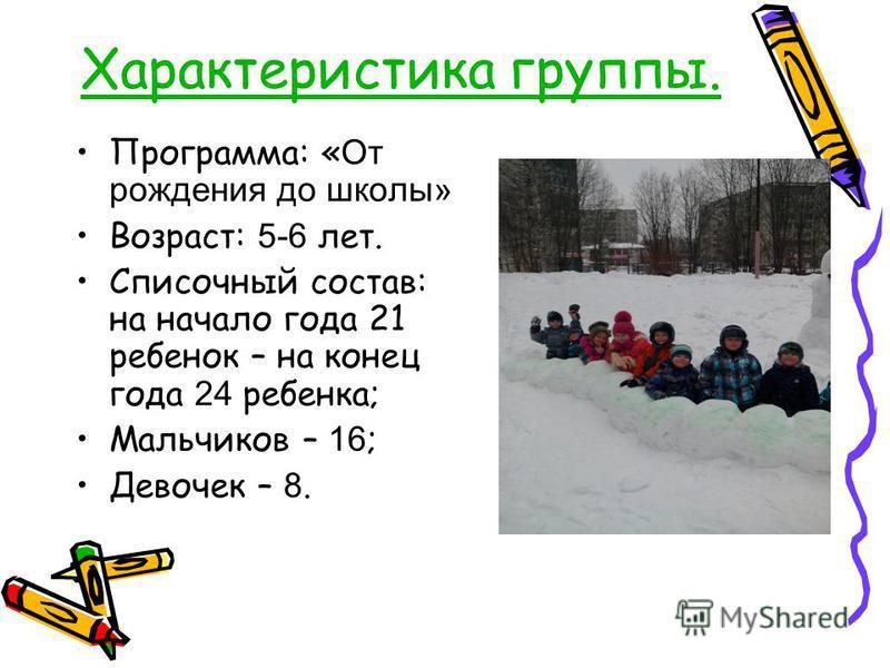 Характеристика группы. Программа: « От рождения до школы» Возраст: 5-6 лет. Списочный состав: на начало года 21 ребенок – на конец года 24 ребенка; Мальчиков – 16 ; Девочек – 8.