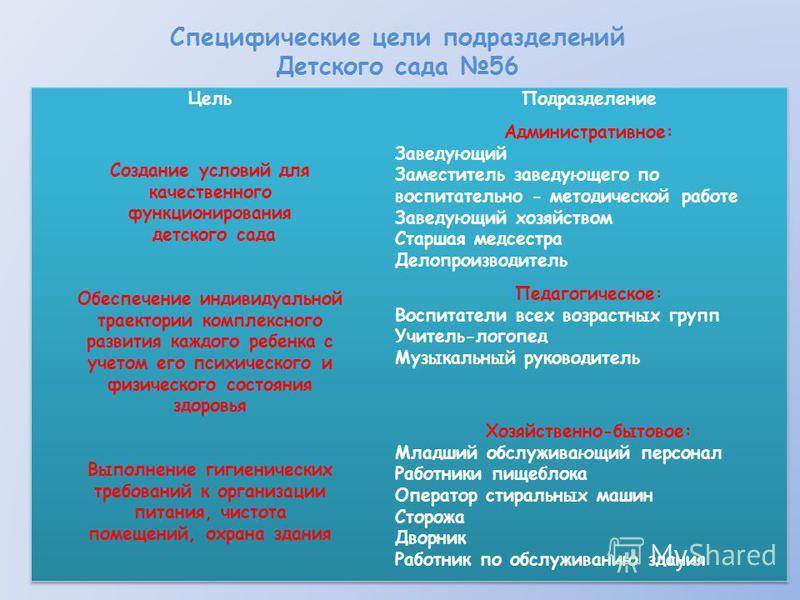 Специфические цели подразделений Детского сада 56