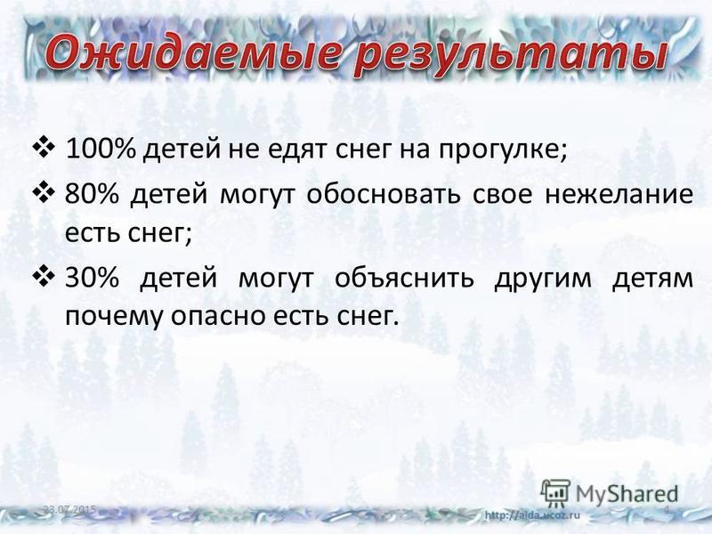100% детей не едят снег на прогулке; 80% детей могут обосновать свое нежелание есть снег; 30% детей могут объяснить другим детям почему опасно есть снег. 23.07.20154