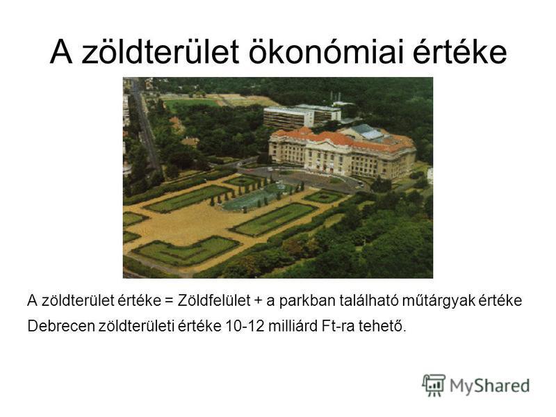 A zöldterület ökonómiai értéke A zöldterület értéke = Zöldfelület + a parkban található műtárgyak értéke Debrecen zöldterületi értéke 10-12 milliárd Ft-ra tehető.