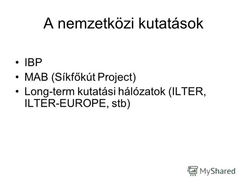 A nemzetközi kutatások IBP MAB (Síkfőkút Project) Long-term kutatási hálózatok (ILTER, ILTER-EUROPE, stb)