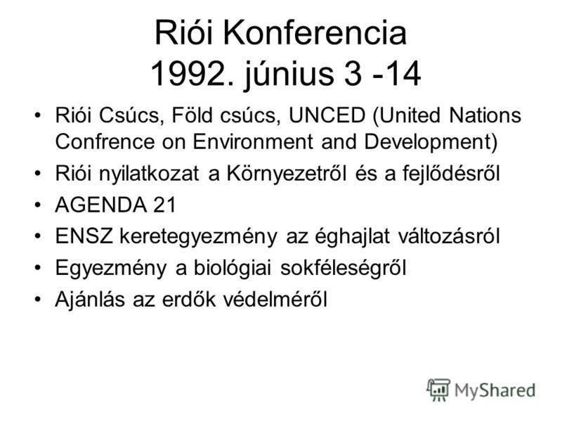 Riói Konferencia 1992. június 3 -14 Riói Csúcs, Föld csúcs, UNCED (United Nations Confrence on Environment and Development) Riói nyilatkozat a Környezetről és a fejlődésről AGENDA 21 ENSZ keretegyezmény az éghajlat változásról Egyezmény a biológiai s
