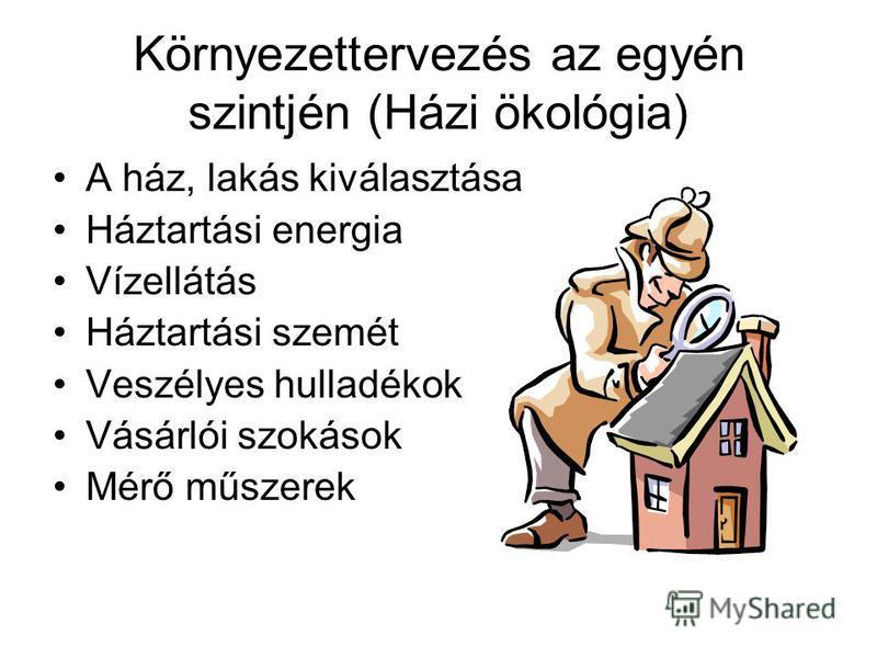 Környezettervezés az egyén szintjén (Házi ökológia) A ház, lakás kiválasztása Háztartási energia Vízellátás Háztartási szemét Veszélyes hulladékok Vásárlói szokások Mérő műszerek