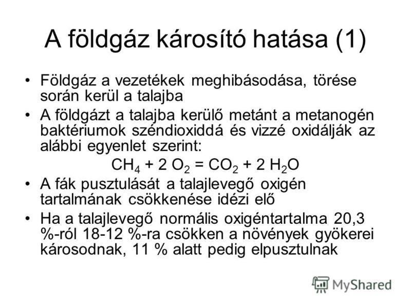 A földgáz károsító hatása (1) Földgáz a vezetékek meghibásodása, törése során kerül a talajba A földgázt a talajba kerülő metánt a metanogén baktériumok széndioxiddá és vizzé oxidálják az alábbi egyenlet szerint: CH 4 + 2 O 2 = CO 2 + 2 H 2 O A fák p