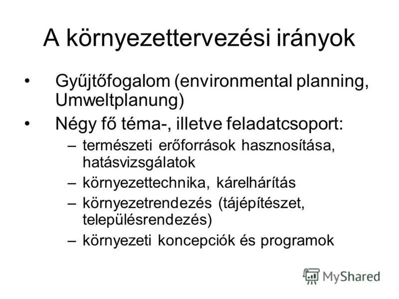 A környezettervezési irányok Gyűjtőfogalom (environmental planning, Umweltplanung) Négy fő téma-, illetve feladatcsoport: –természeti erőforrások hasznosítása, hatásvizsgálatok –környezettechnika, kárelhárítás –környezetrendezés (tájépítészet, telepü