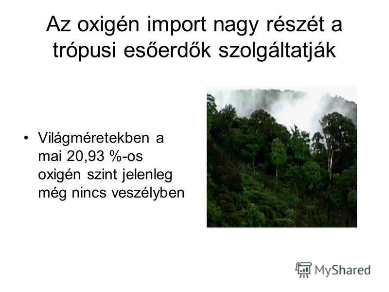 Az oxigén import nagy részét a trópusi esőerdők szolgáltatják Világméretekben a mai 20,93 %-os oxigén szint jelenleg még nincs veszélyben