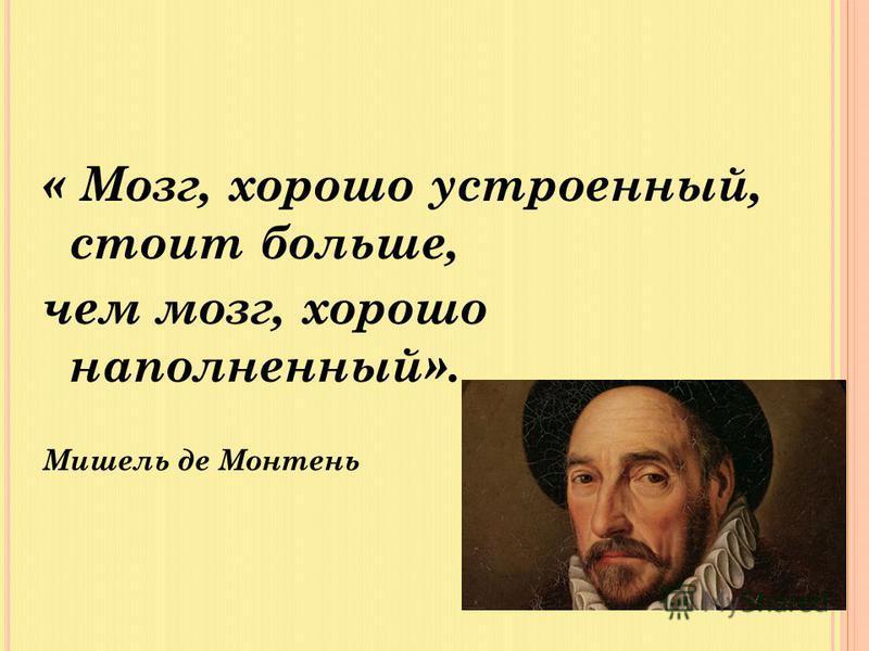 « Мозг, хорошо устроенный, стоит больше, чем мозг, хорошо наполненный». Мишель де Монтень
