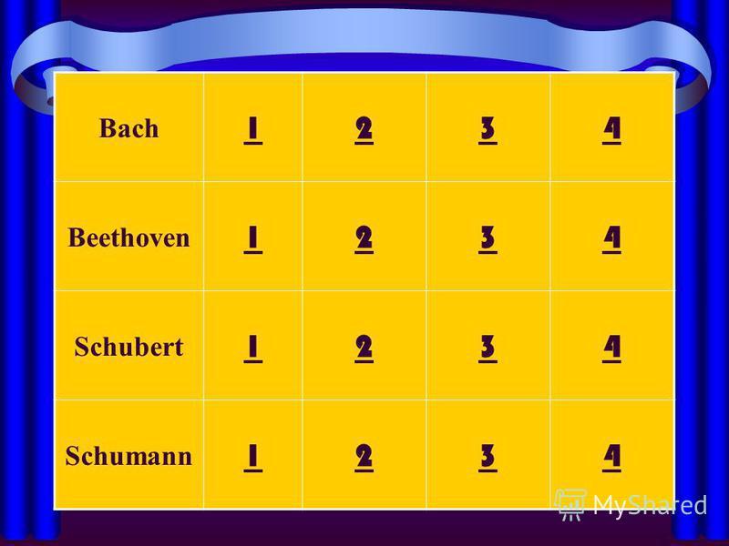 Bach 1234 Beethoven 1234 Schubert 1234 Schumann 1234