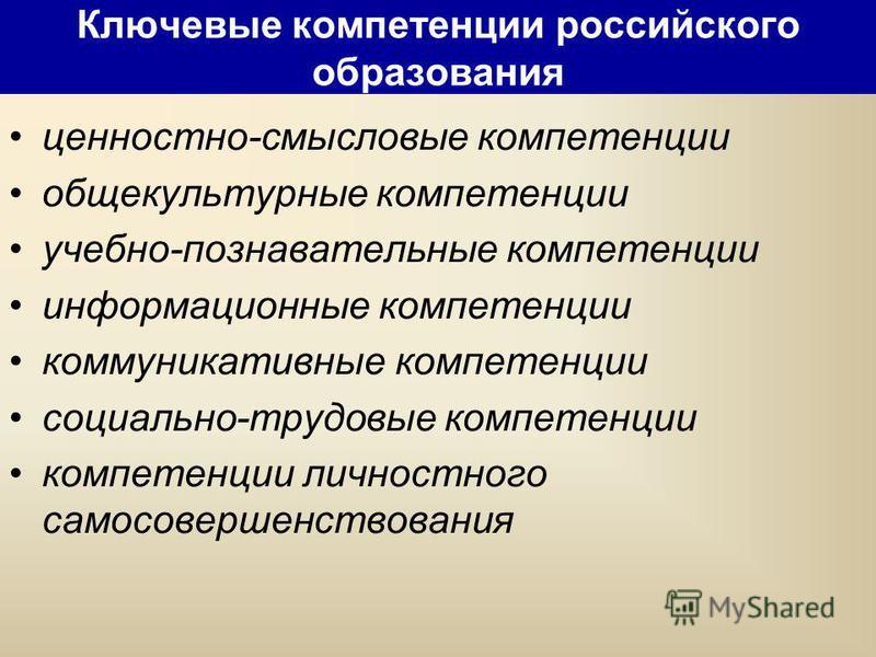 Ключевые компетенции российского образования ценностно-смысловые компетенции общекультурные компетенции учебно-познавательные компетенции информационные компетенции коммуникативные компетенции социально-трудовые компетенции компетенции личностного са