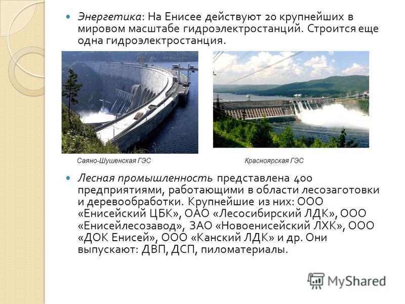 Энергетика : На Енисее действуют 20 крупнейших в мировом масштабе гидроэлектростанций. Строится еще одна гидроэлектростанция. Лесная промышленность представлена 400 предприятиями, работающими в области лесозаготовки и деревообработки. Крупнейшие из н