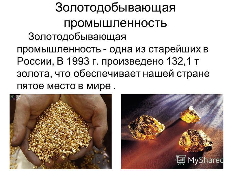 Золотодобывающая промышленность Золотодобывающая промышленность - одна из старейших в России, В 1993 г. произведено 132,1 т золота, что обеспечивает нашей стране пятое место в мире.