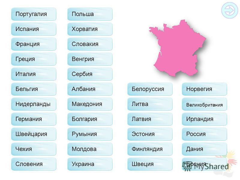Испания Греция Бельгия Германия Швейцария Чехия Польша Словакия Хорватия Венгрия Сербия Албания Македония Болгария Молдова Украина Белоруссия Литва Латвия Эстония Финляндия Швеция Норвегия Великобритания Ирландия Россия Дания Босния Словения Италия Р