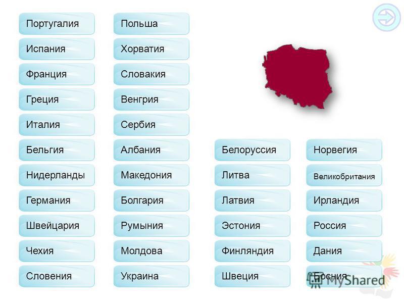 Франция Испания Греция Бельгия Германия Швейцария Чехия Польша Словакия Хорватия Венгрия Сербия Албания Македония Болгария Молдова Украина Белоруссия Литва Латвия Эстония Финляндия Швеция Норвегия Великобритания Ирландия Россия Дания Босния Словения