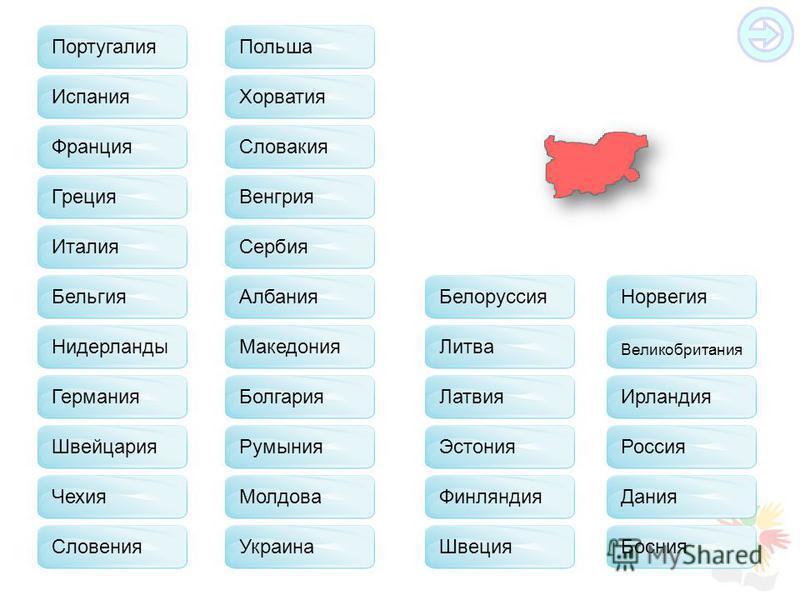Франция Испания Греция Бельгия Германия Швейцария Чехия Польша Словакия Хорватия Венгрия Сербия Албания Македония Молдова Украина Белоруссия Литва Латвия Эстония Финляндия Швеция Норвегия Великобритания Ирландия Россия Дания Босния Словения Италия Ру