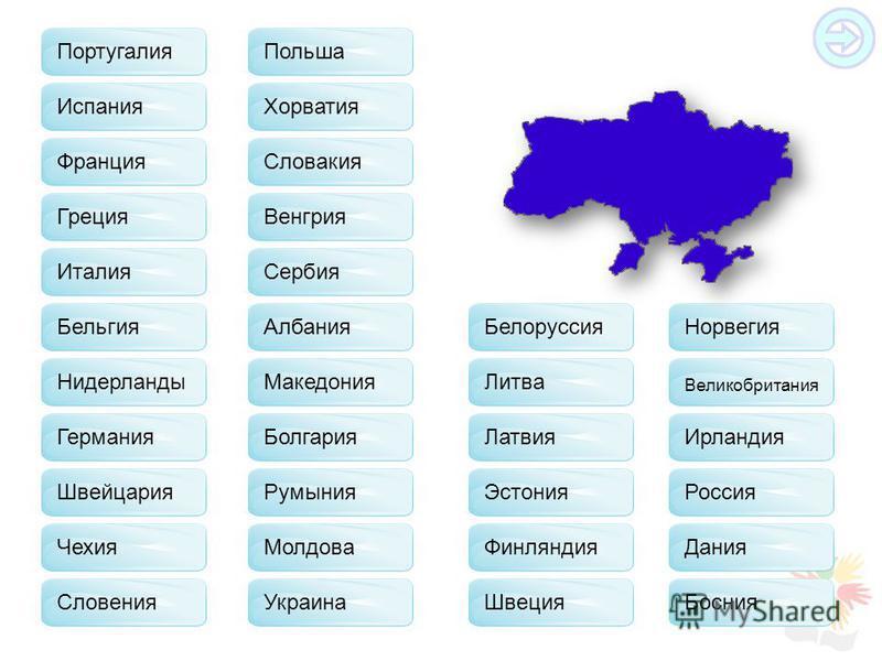 Франция Испания Греция Бельгия Германия Швейцария Чехия Польша Словакия Хорватия Венгрия Сербия Албания Македония Болгария Молдова Белоруссия Литва Латвия Эстония Финляндия Швеция Норвегия Великобритания Ирландия Россия Дания Босния Словения Италия Р