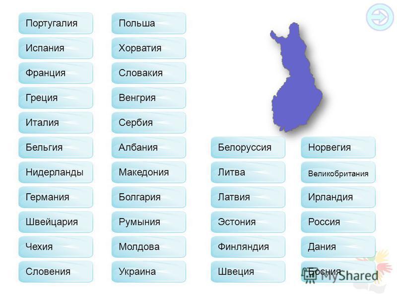 Португалия Франция Испания Греция Италия Бельгия Нидерланды Германия Швейцария Чехия Польша Словакия Хорватия Венгрия Сербия Албания Македония Болгария Румыния Молдова Украина Белоруссия Литва Латвия Эстония Финляндия Швеция Норвегия Великобритания И