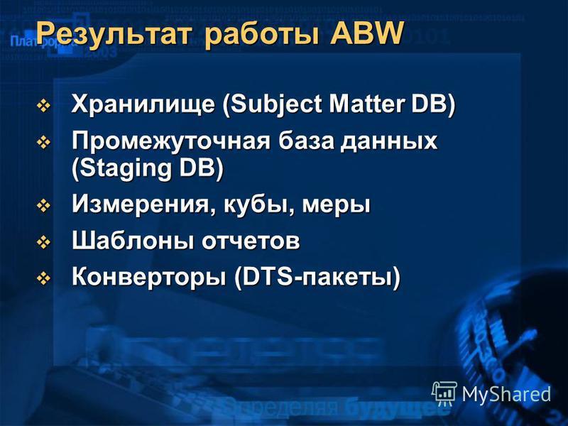 Результат работы ABW Хранилище (Subject Matter DB) Хранилище (Subject Matter DB) Промежуточная база данных (Staging DB) Промежуточная база данных (Staging DB) Измерения, кубы, меры Измерения, кубы, меры Шаблоны отчетов Шаблоны отчетов Конверторы (DTS